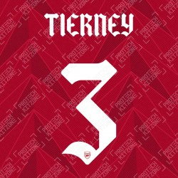 Tierney 3 (Official Arsenal 2020/21 Home Club Name and Numbering)