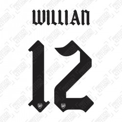 Willian 12 (Official Arsenal 2020/21 Away Club Name and Numbering)