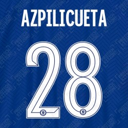 Azpilicueta 28 (Official Name and Number Printing for Chelsea FC 2020/21 Home Shirt)
