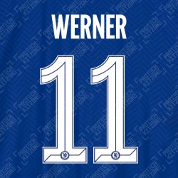 Werner 11 (Official Name and Number Printing for Chelsea FC 2020/21 Home Shirt)