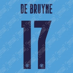 De Bruyne 17 (Official Name and Number Printing for Manchester City 2020/21 Home Shirt)