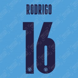 Rodrigo 16 (Official Name and Number Printing for Manchester City 2020/21 Home Shirt)