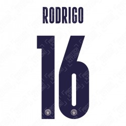 Rodrigo 16 (Official Name and Number Printing for Manchester City 2020/21 Third Shirt)