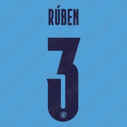 Rúben 3 (Official Name and Number Printing for Manchester City 2020/21 Home Shirt)
