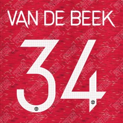Van De Beek 34 (Official Manchester United FC 2020/21 Home / Away Name and Numbering