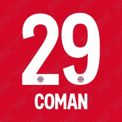 Coman 29 (OFFICIAL BAYERN MUNICH 2019/20/21 HOME NAME AND NUMBERING)