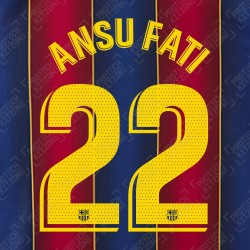 Ansu Fati 22 (OFFICIAL FC BARCELONA 2020/21 LA LIGA HOME NAME AND NUMBERING - PLAYER VERSION)