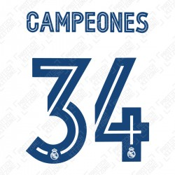 Campeones 34 (Official Real Madrid FC 19/20/21 Home Special Edition Name and Numbering)