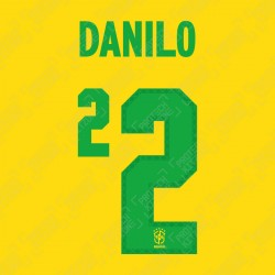 Danilo 2 (Official Name and Number Printing for Brazil 2020 Home Shirt)