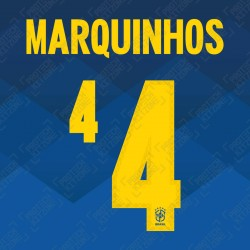 Marquinhos 4 (Official Name and Number Printing for Brazil 2020 Away Shirt)