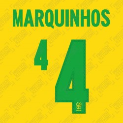 Marquinhos 4 (Official Name and Number Printing for Brazil 2020 Home Shirt)
