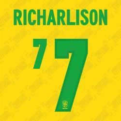 Richarlison 7 (Official Name and Number Printing for Brazil 2020 Home Shirt)