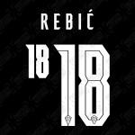 Rebić 18 (Official Croatia 2020 Away Name and Numbering)