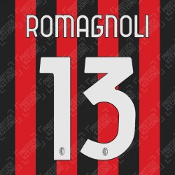 Romagnoli 13 (Official AC Milan 2020/21 Home / Third Club Name and Numbering)