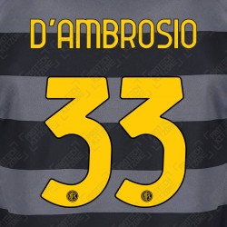 D'Ambrosio 33 (Official Inter Milan 2020/21 Third Club Name and Numbering)