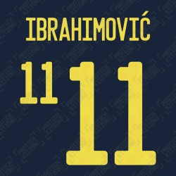 Ibrahimović 11 (Official Sweden EURO 2020 Away Name and Numbering)