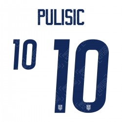 Pulisic 10 (Official USA 2020 Home Name and Numbering)