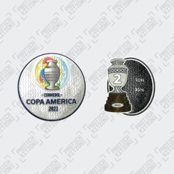 Official Copa America 2021 + Trophy 2 Badges (Chile)