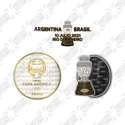 Official Copa America Final 2021 + Trophy 14 Badges + Final Match Details Printing (Argentina)