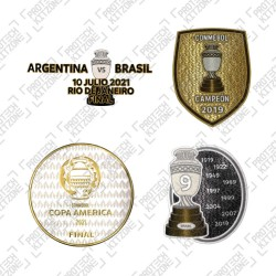 Official Copa America Final 2021 + Trophy 9 + Copa America Brasil 2019 Winner Badges + Final Match Details Printing (Brazil)