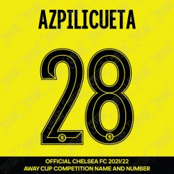 Azpilicueta 28 (Official Name and Number Printing for Chelsea FC 2021/22 Away Shirt)