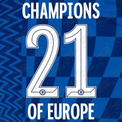 Champions of Europe 21 with 2 Stars Printing (Official Special Edition Name and Number Printing for Chelsea FC 2021/22 Home Shirt)