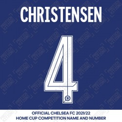 Christensen 4 (Official Name and Number Printing for Chelsea FC 2020/21/22 Home Shirt)