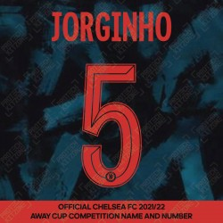 Jorginho 5 (Official Name and Number Printing for Chelsea FC 2021/22 Third Shirt)