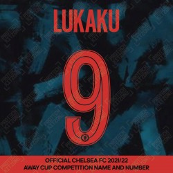 Lukaku 9 (Official Name and Number Printing for Chelsea FC 2021/22 Third Shirt)