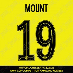 Mount 19 (Official Name and Number Printing for Chelsea FC 2021/22 Away Shirt)