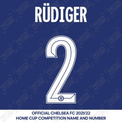 Rüdiger 2 (Official Name and Number Printing for Chelsea FC 2020/21/22 Home Shirt)