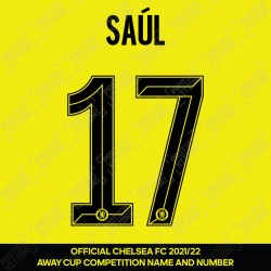 Saúl 17 (Official Name and Number Printing for Chelsea FC 2021/22 Away Shirt)