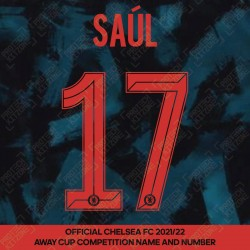 Saúl 17 (Official Name and Number Printing for Chelsea FC 2021/22 Third Shirt)