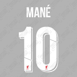 Mané 10 (Official Liverpool FC White Club Name and Numbering)