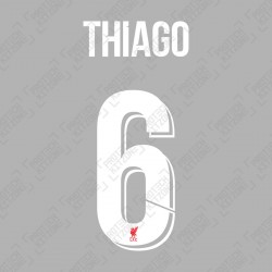 Thiago 6 (Official Liverpool FC White Club Name and Numbering)