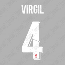 Virgil 4 (Official Liverpool FC White Club Name and Numbering)
