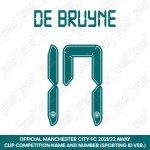 De Bruyne 17 (Official Cup Competition Name and Number Printing for Manchester City 2021/22 Away Shirt)