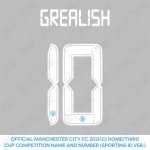 Grealish 10 (Official Cup Competition Name and Number Printing for Manchester City 2021/22 Home / Third Shirt)