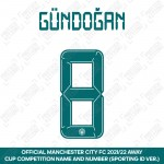 Gündoğan 8 (Official Cup Competition Name and Number Printing for Manchester City 2021/22 Away Shirt)