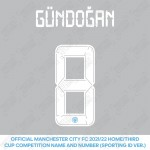 Gündoğan 8 (Official Cup Competition Name and Number Printing for Manchester City 2021/22 Home / Third Shirt)
