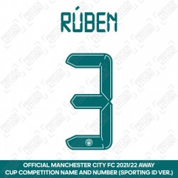 Rúben 3 (Official Cup Competition Name and Number Printing for Manchester City 2021/22 Away Shirt)