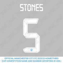 Stones 5 (Official Cup Competition Name and Number Printing for Manchester City 2021/22 Home / Third Shirt)