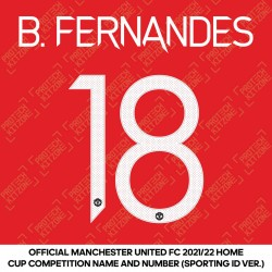 B. Fernandes 18 (Official Manchester United FC 2021/22 Home Name and Numbering - Sporting iD Ver.)