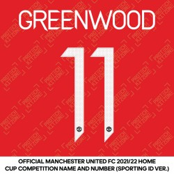 Greenwood 11 (Official Manchester United FC 2021/22 Home Name and Numbering - Sporting iD Ver.)
