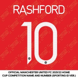 Rashford 10 (Official Manchester United FC 2021/22 Home Name and Numbering - Sporting iD Ver.)