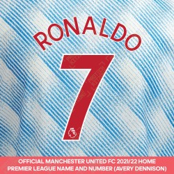 Ronaldo 7 (Official Manchester United 2021/22 Away Premier League Name and Number)