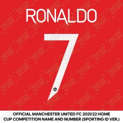 [Pre-Order] Ronaldo 7 (Official Manchester United FC 2021/22 Home Name and Numbering - Sporting iD Ver.)