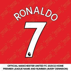 Ronaldo 7 (Official Manchester United 2021/22 Home Premier League Name and Number)