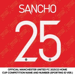 Sancho 25 (Official Manchester United FC 2021/22 Home Name and Numbering - Sporting iD Ver.)