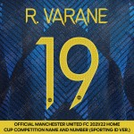 R. Varane 19 (Official Manchester United FC 2021/22 Third Name and Numbering - Sporting iD Ver.)